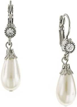 1928 Jewelry Zarina Silver-Tone Crystal and Simulated Pearl Drop Earrings