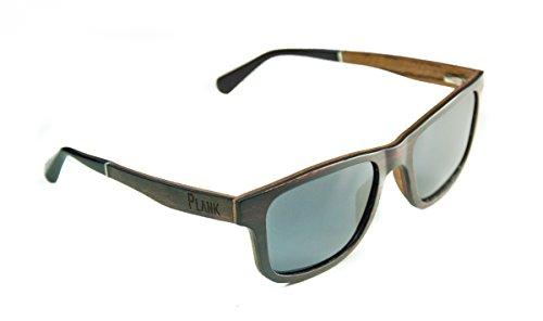 PLANK Eyewear Polarized Layered Striped Ebony, Maple, and Zebra Wood Sunglasses for Men and - Striped Zebra Sunglasses