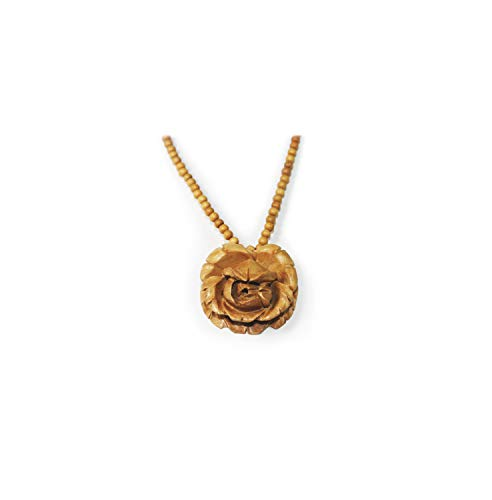 TERRAACRAFT - Exquisite Hand Carved Rose Flower Wooden Pendant Necklace. Exquisite Neck Piece Jewellery for all occasion ()