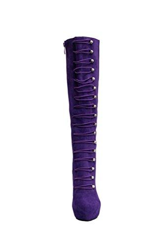 Mode européenne Et Américain Automne Et Hiver Violet Imperméable Knee Bottes Rondes Talon Haut