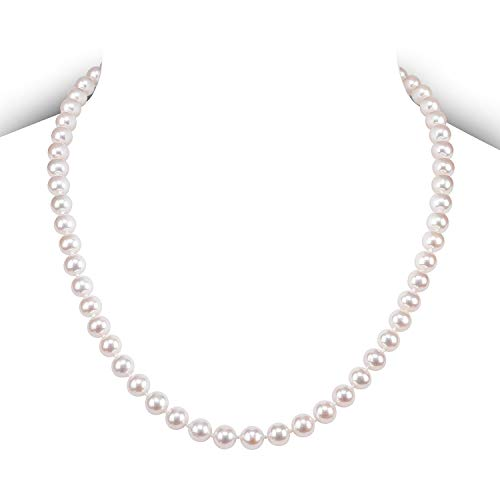 PAVOI Sterling Silver White Freshwater Cultured Pearl Necklace (18, 7mm)