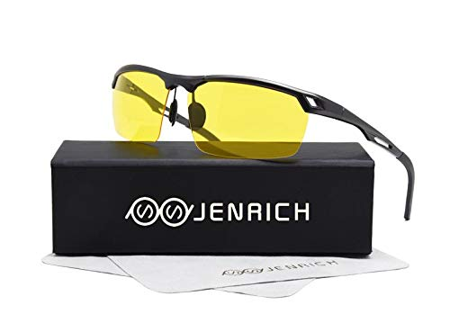 JENRICH HD Night Vision Glasses for Women Men, Driving Tac Glasses Reduce Glare from Headlights Safety Night Vision for Driving Fishing Outdoor Sports