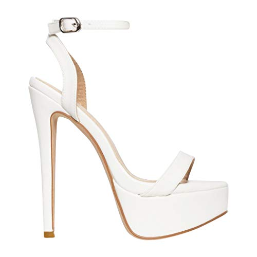 Stiletto Platform Sexy 1/2 - EUYZOU Women's Fashion High Stiletto Platform Sandals - Open Toe Ankle Strap Dress Heels 5.75