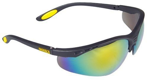 Dewalt DPG58-6C Reinforcer Fire Mirror High Performance Protective Safety Glasses with Rubber Temples