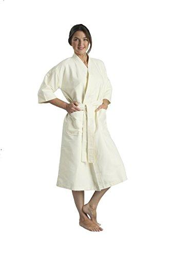 Monarch/Cypress Unisex Chamois Microfiber Kimono Robe, Ecru, Large