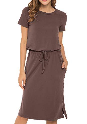Women's Plain Short Sleeve Casual Pockets Midi Dress with Belt Coffee M
