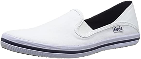 Keds Women's Crashback Canvas Slip-On Sneaker, White, 8 M US