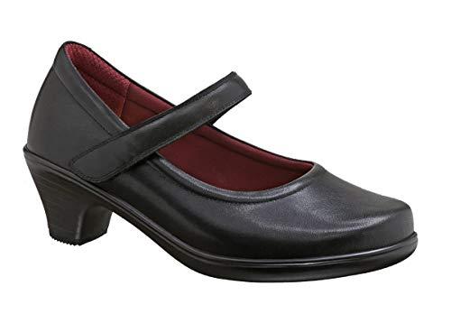 (Orthofeet BioHeels Vera Black Comfortable 2 Inch Low Heels Bunions Women's High Heel Pumps Mary Jane Dress Shoes)