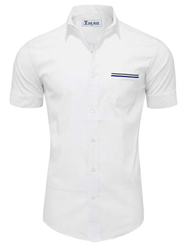 TAM WARE Mens Casual Chest Pocket Short Sleeve Button Down Shirts TWCMS06-WHITE-US XXL