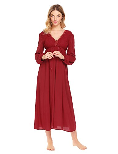 Ekouaer Women's Women's Vintage Victorian Nightgown Long Sleeve Sheer Sleepwear Pajamas Nightwear Lounge Dress(Wine Red,L)