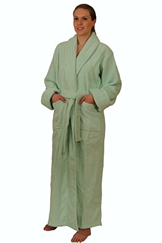NDK New York Full Length Terry Cloth Bathrobe for Men and Women 100% Cotton, Mint, (Long Terry Robe)