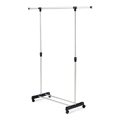 SUNPACE Stainless Steel Adjustable Single Rail Rolling Clothing Garment Rack, Extendable Hanging Rack - Adjustable Height Garment Rack