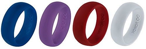 Silicone Wedding Ring Band by HonorGear - 4 Rings Pack Premium Medical Grade Wedding-Bands for Active Men, Athletes -183N Tensile Strength Comfortable Fit & Skin Safe Non-toxic Antibacterial, (8)