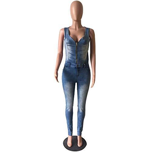 Mangas Blau Pantalones Cremallera Vaqueros Espalda Elásticos Mezclilla Cuello Ajustados Casual De V Modernas Mujeres Con En Sin Oxa1wq1Iv