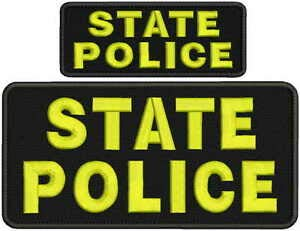 (State Police Embroidery Patches 4x8 and 2x5 Hook Yellow Letters by HighQ Store )