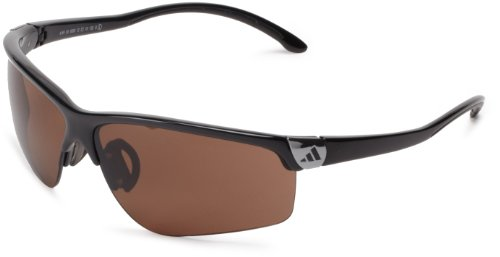 adidas adivista L a164-6050 Rectangle Sunglasses,Shiny Black & Chrome Frame/LST Contrast Lens,One Size