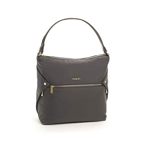 (Hedgren Prisma Oblique Hobo Bag, Handbag Tote, Exterior Phone Pocket, Pavement)