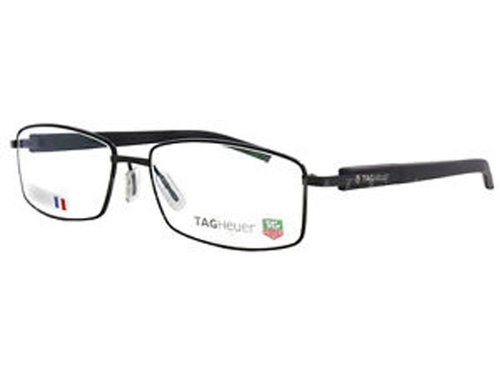 Tag Heuer Trends Rubber 8007 Eyeglasses Full Rimmed Eye Glasses 001 Black/Black New