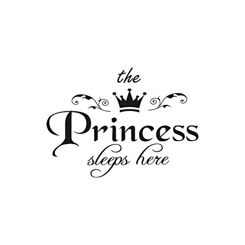 Removable Wall Sticker The Princess Sleeps Here Crown Decal Living Room Bedroom Vinyl Carving Wall Decal Sticker #555 Black