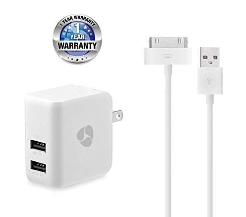 (Fenergy 3.1A Dual Port High Speed USB Wall Charger Power Adapter with Extra Long 30 Pin Charging Cable Power Cord for iPhone 4s,iPod Touch 3/4, iPad 2/3)