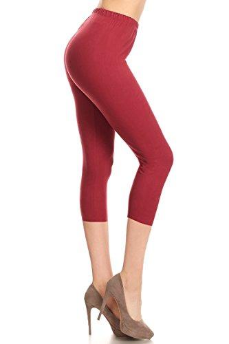 Leggings Depot Buttery Soft Basic Solid 36+ Colors Women's Capri Leggings (Mulberry, One Size (Size 0-12))