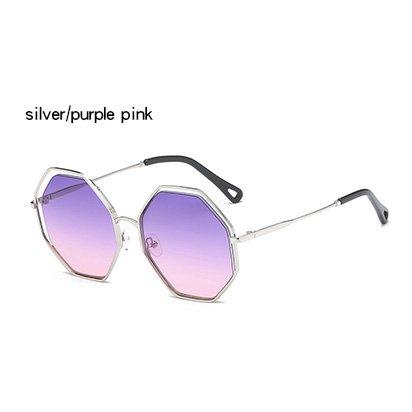 gafas gafas sol azul redondas Gafas hembra de ZHANGYUSEN claro espejo huecas purplepink Vintage Lady sobredimensionado Silver degradado mujeres plata XxnPzIq