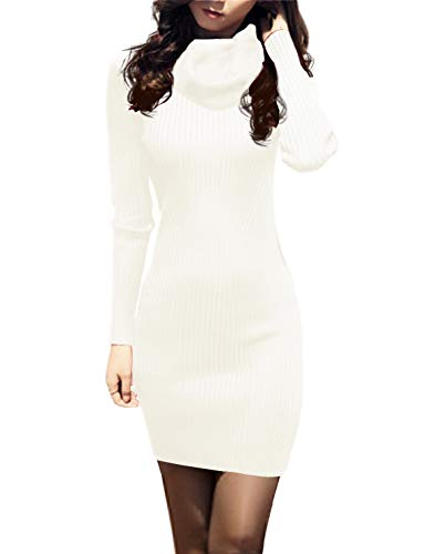 v28 Women Cowl Neck Knit Stretchable Elasticity Long Sleeve Slim Fit Sweater Dress (10-16,Cream White)