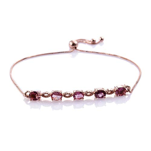 Bolo Bracelet 925 Sterling Silver Vermeil Rose Gold Oval Pink Tourmaline Gift Jewelry for Women Cttw 2.7 Adjustable