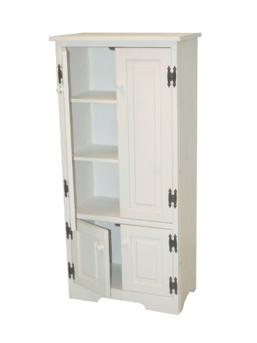 Ivory Kitchen Cabinet - Target Marketing Systems Tall Storage Cabinet with 2 Adjustable Top Shelves and 1 Bottom Shelf, White
