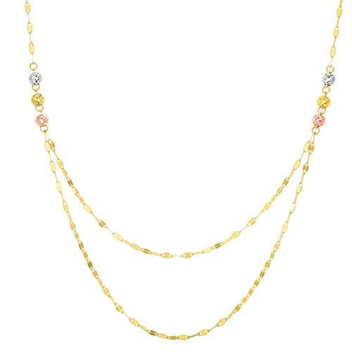 14k Yellow, White and Rose Gold Tri-Color Beaded Multi Strand Mirror Chain Necklace, 17 inches