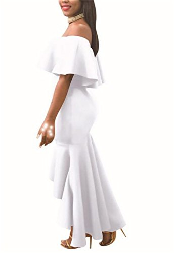 Women's Party White Cocktail Fishtail Ruffled Cromoncent Hot Dress Sexy Off Shoulder Evening dWwCqzaq