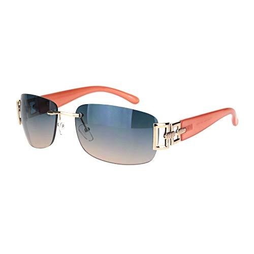 SA106 Luxury Rimless Art Deco Metal Chain Designer Sunglasses (Gold Peach, 60) ()