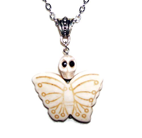 WHITE MARIPOSA BUTTERFLY Necklace Pendant SUGAR SKULL DAY OF THE DEAD Silver Pltd ()