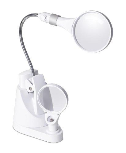 OttLite 15900C  LED Clip and Freestanding Magnifier Lamp, White Ott Lite Nickel Table Lamp