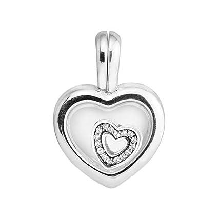 547b0926d55 Calvas Fits Bracelet Charms Beads for Jewelry Making Floating Heart Locket  Pendant Charm FANDOALA 925 Sterling
