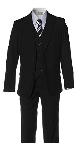Boys Slim Fit Black Suit in Toddlers to Boys Sizing (14 Boys) (Black On Black Suit)