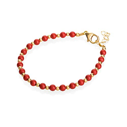 (Crystal Dream Luxury 14KT Gold-Filled Beads with Coral Swarovski Simulated Pearls Stylish Baby Girl Bracelet Gift (BCR_S))