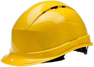LCSHAN 反落下通気性ヘルメット工事現場日焼け止めヘルメット肥厚 (Color : Yellow)