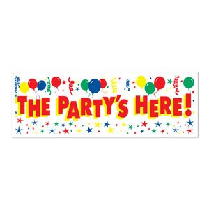 Beistle The Party's Here Sign Banner, 5-Feet by (Halloween Party Here)