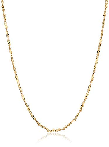 (Gold Plated Sterling Silver 1.2mm Twisted Serpentine Chain Necklace, 14