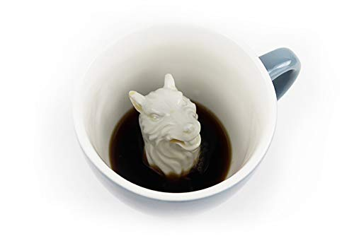 (CREATURE CUPS Wolf Ceramic Cup (11 Ounce, Cobalt Blue)   Hidden Animal Inside   Holiday and Birthday Gift for Coffee & Tea Lovers)