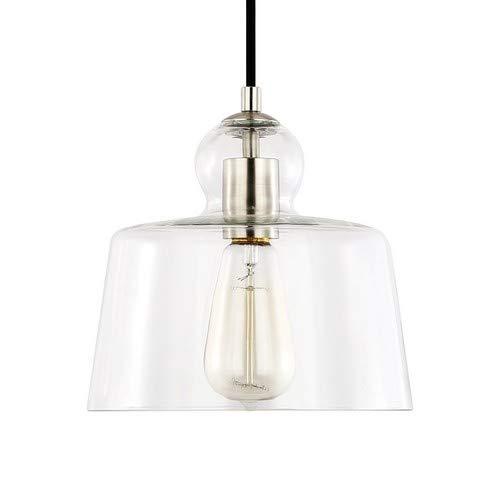 - Light Society Tripoli Pendant Light, Satin Nickel with Handblown Clear Glass Shade, Vintage Industrial Modern Lighting Fixture (LS-C247-SN)
