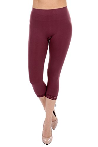 Long Shorts Capri Pants (Cropped Capri Leggings with Lace Trim by F&F - Stretchy, Lightweight Tights (One Size, Wine))