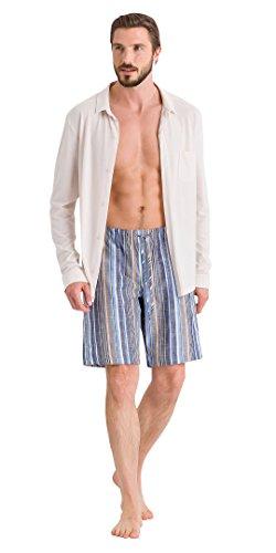 HANRO Men's River Woven Shorts, Yellow/Blue Stripe, Large
