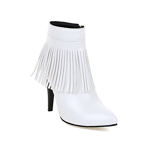 BalaMasa Womens Stiletto Winkle Pinker Tassels Imitated Leather Boots White q3HFXhn