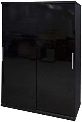 Armario para dormitorio con puerta corredera, Black Gloss/Oak, 7.8 ...