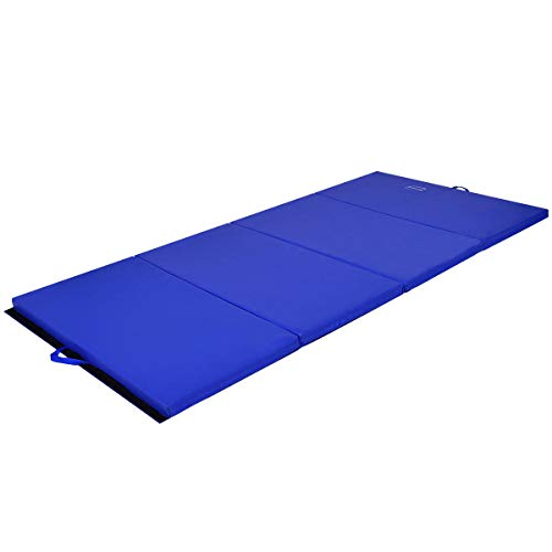 Exercise Mat 4'x8'x2 Gymnastics Mat Thick Folding Panel Gym Fitness Blue with Ebook