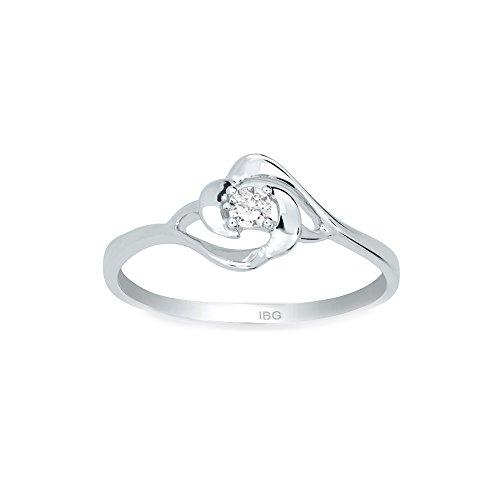 ZE 10k White Gold Diamond Solitaire Promise Ring