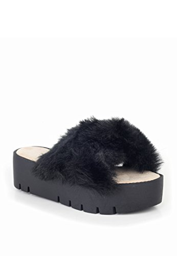 London Flop London Womens Black Rag Slider Flip Fur Platform Rag dUwxq6d
