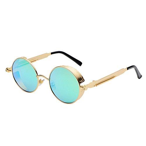 glasses Espejo Sun Metal Vintage Sunglasses Hombres Retro para Yefree Green Golden Circle Mujeres Goggles Eyewear wn4ZqUxX8